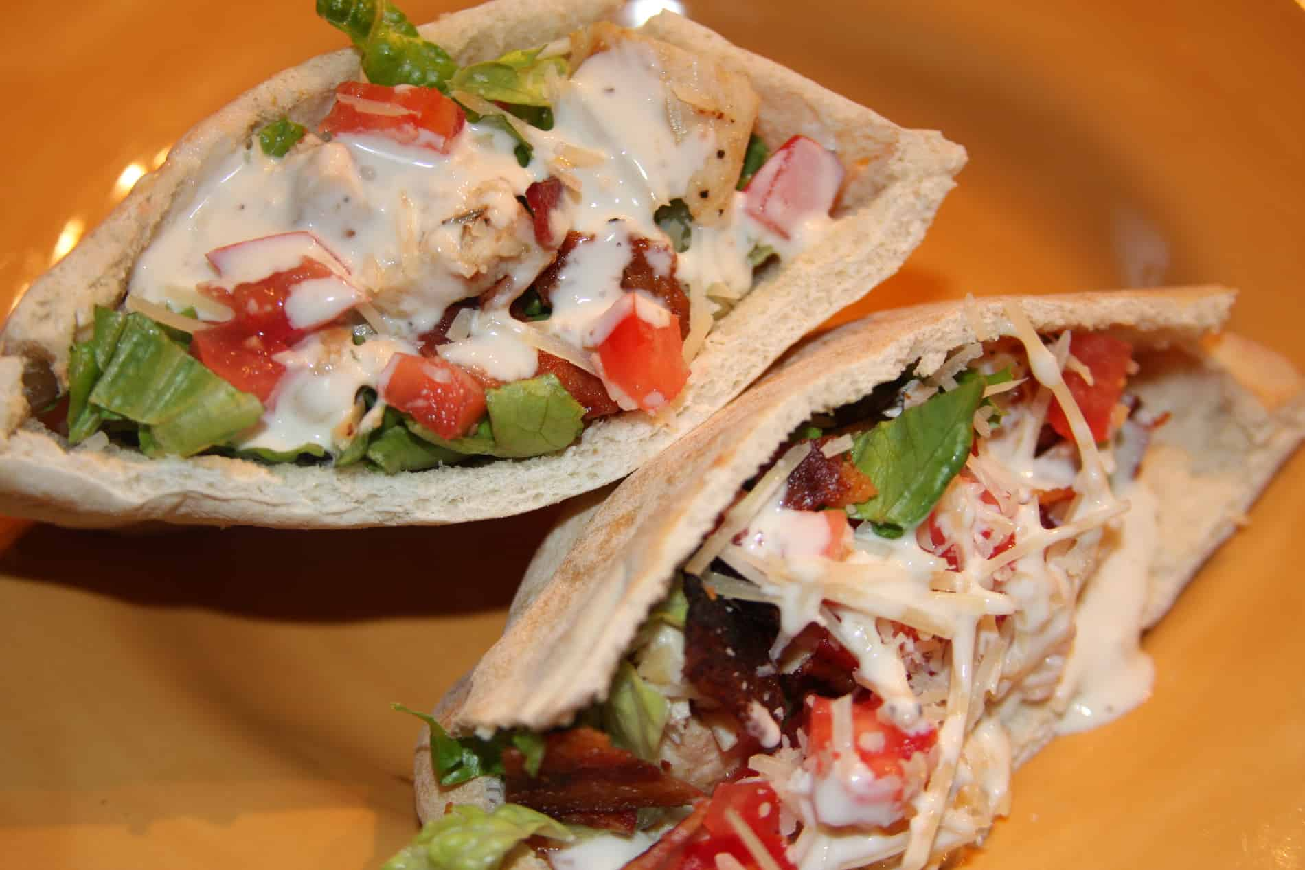 Chicken Caesar Pita Sandwiches recipe