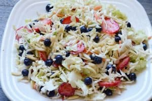 All American Slaw made with Jimmy's Cole Slaw Dressing blueberries and strawberries