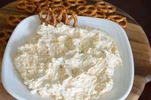 Beer Cheese dipp made with Jimmy's Holy Smoke! Dip and pretzels for dipping.