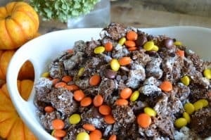 Caramel puppy show made with Jimmy's Caramel Dip topped with Reese's Pieces for a fun Halloween Recipe