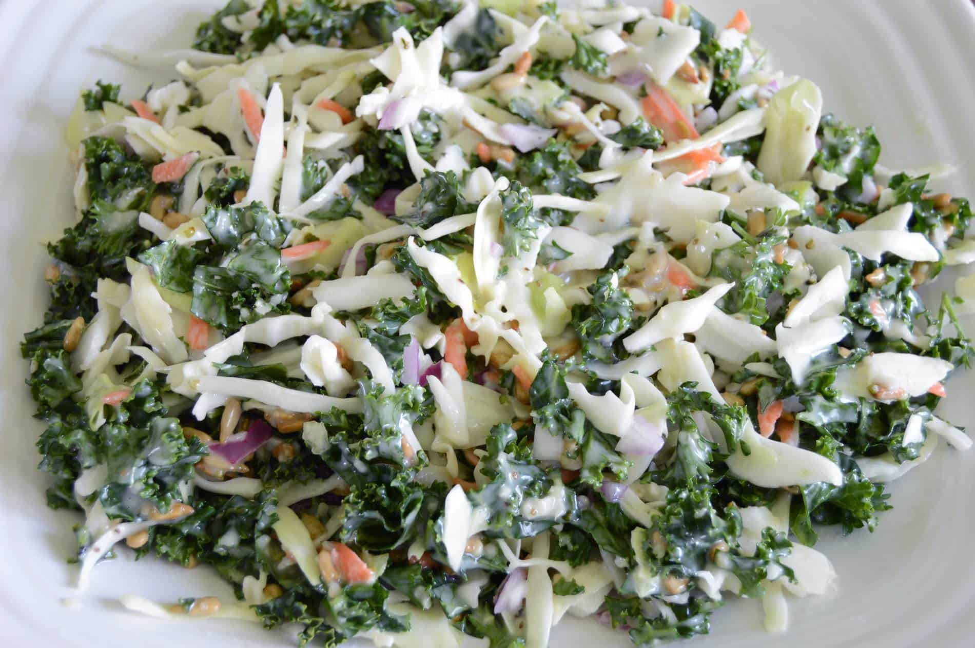 Kale, cabbage salad with carrots, red onion, hemp seeds, sunflower seeds and Jimmy's Cole Slaw Dressing on white plate