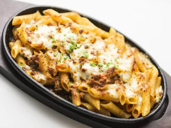 baked penne pasta with meat and cheese made with Jimmy's Taco Dip
