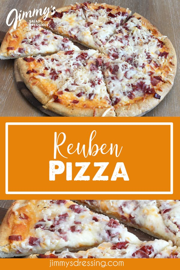 Reuben pizza recipe made with Jimmy's Thousand Island Dressing, corned beef, sauerkraut, and Swiss cheese.