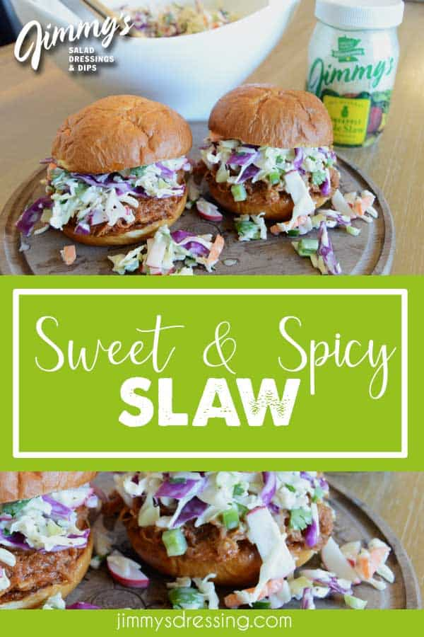 Top your BBQ pulled pork sandwich with some spicy slaw!